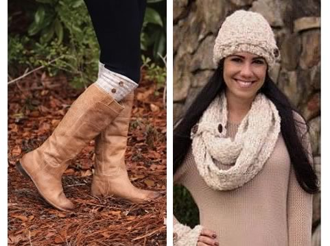Boot Socks with Matching Infinity Scarves